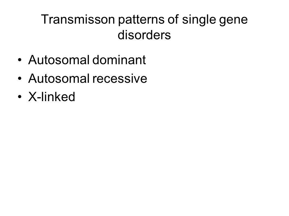 Transmisson patterns of single gene disorders