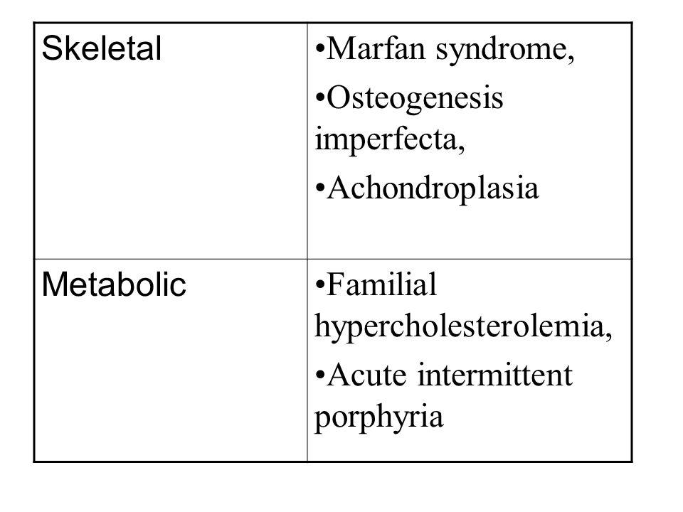 Skeletal Marfan syndrome, Osteogenesis imperfecta, Achondroplasia. Metabolic. Familial hypercholesterolemia,