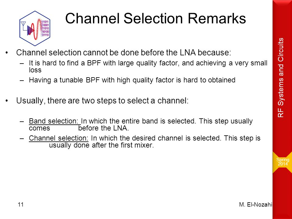 Channel Selection Remarks