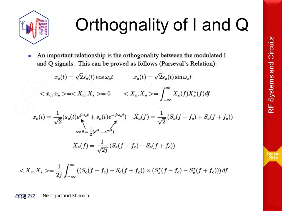 Orthognality of I and Q RF Systems and Circuits Niknejad and Shana'a
