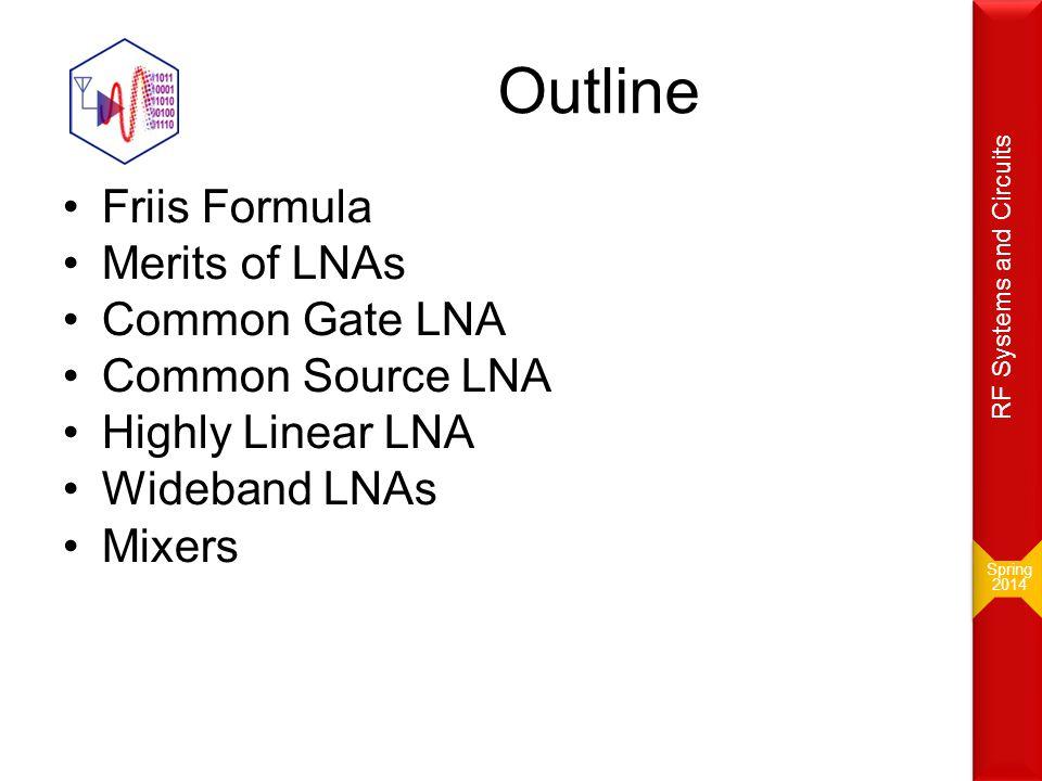 Outline Friis Formula Merits of LNAs Common Gate LNA Common Source LNA