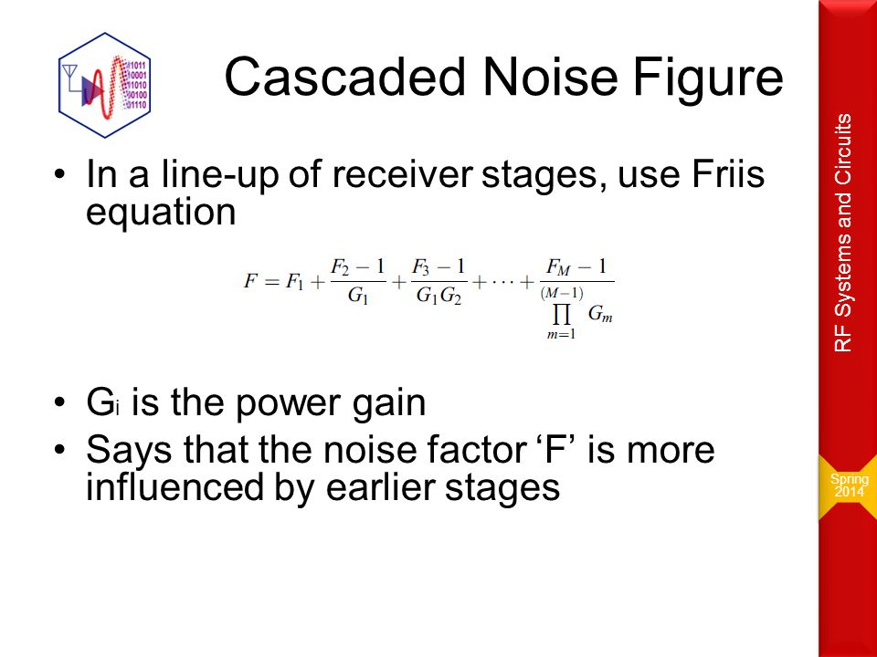 Spring 2014. RF Systems and Circuits. Cascaded Noise Figure. In a line-up of receiver stages, use Friis equation.