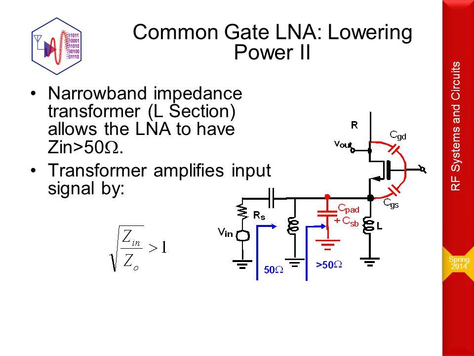 Common Gate LNA: Lowering Power II