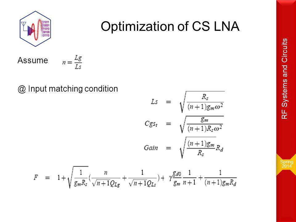 Optimization of CS LNA Assume @ Input matching condition