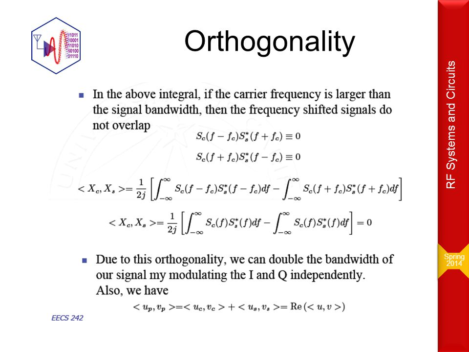 Orthogonality Design of RF Circuits & Systems RF Systems and Circuits