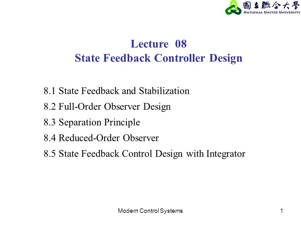 State Feedback Controller Design