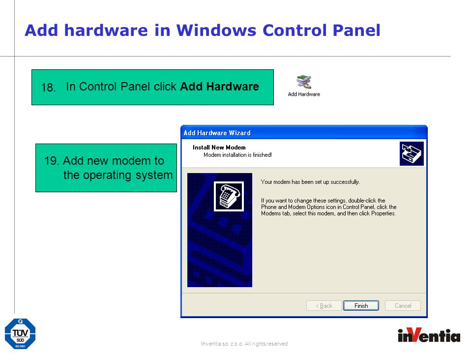 Add hardware in Windows Control Panel