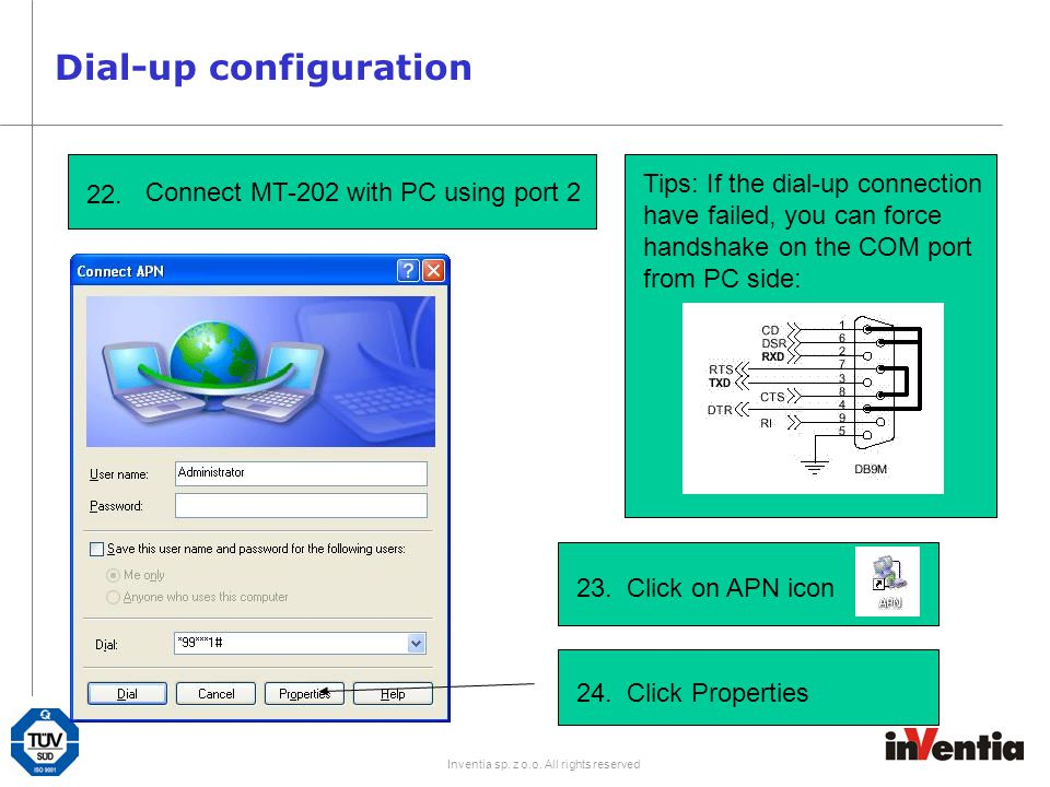 Dial-up configuration