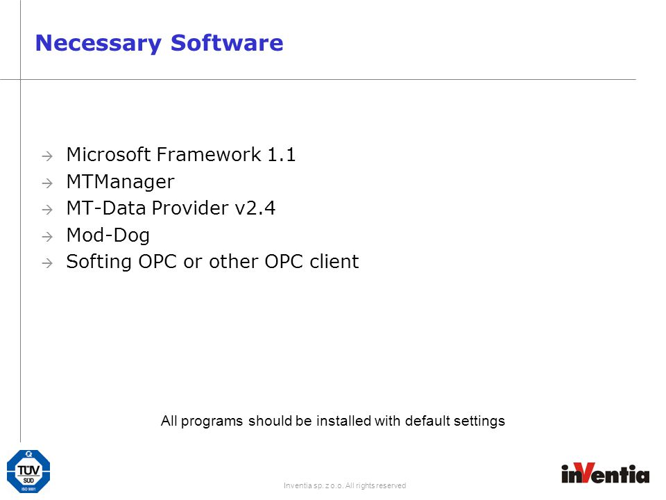 Necessary Software Microsoft Framework 1.1 MTManager