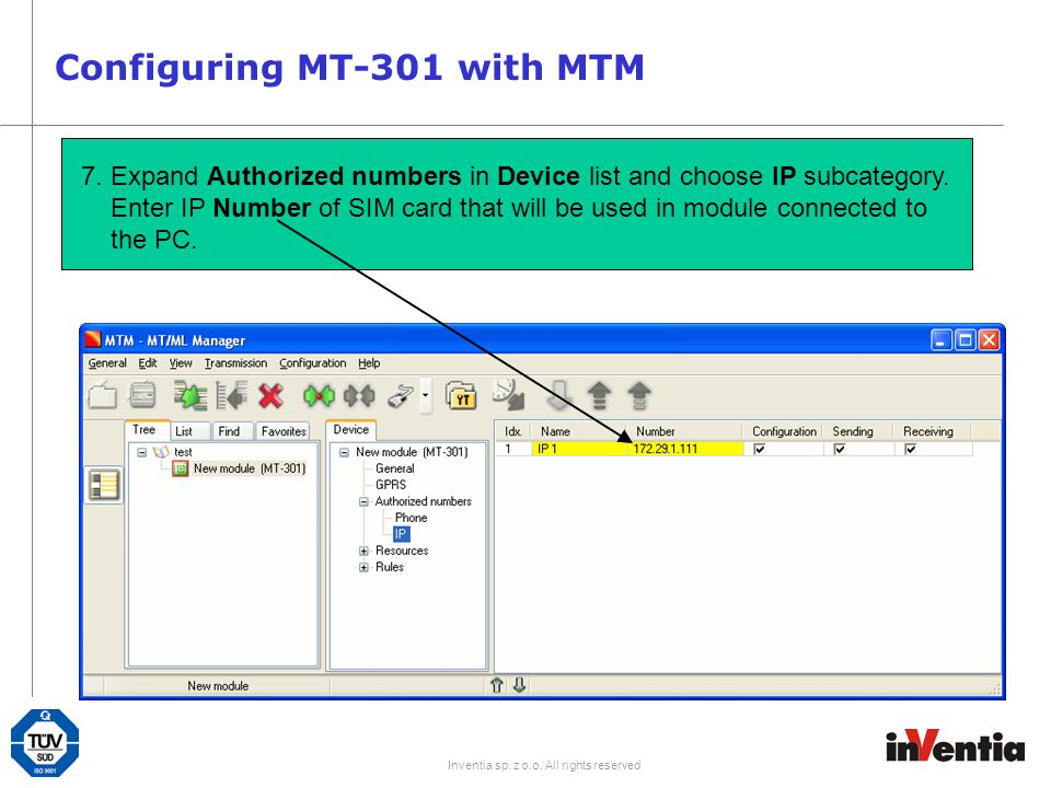 Configuring MT-301 with MTM