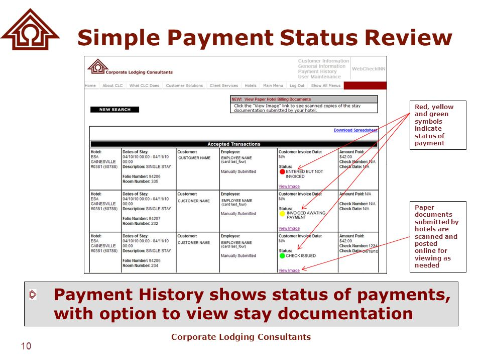 Simple Payment Status Review