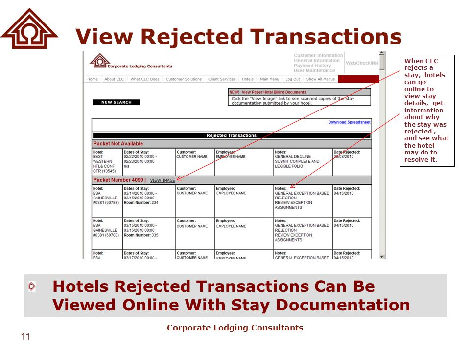 View Rejected Transactions