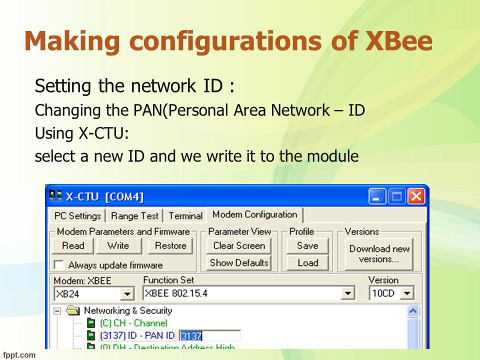 Making configurations of XBee