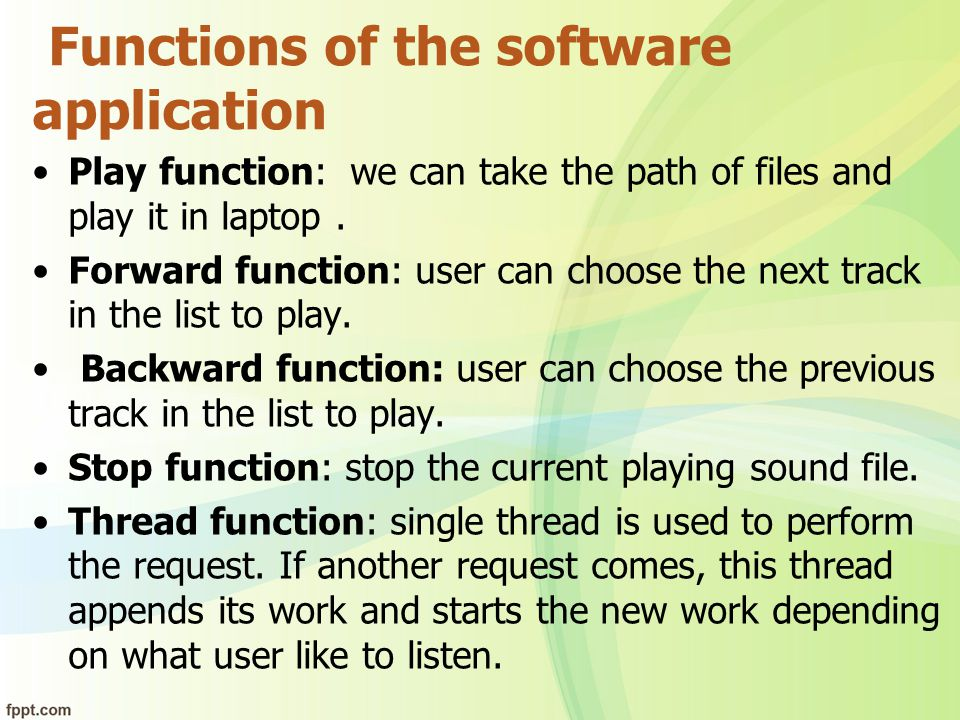 Functions of the software application