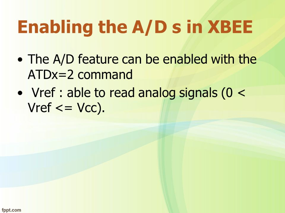 Enabling the A/D s in XBEE