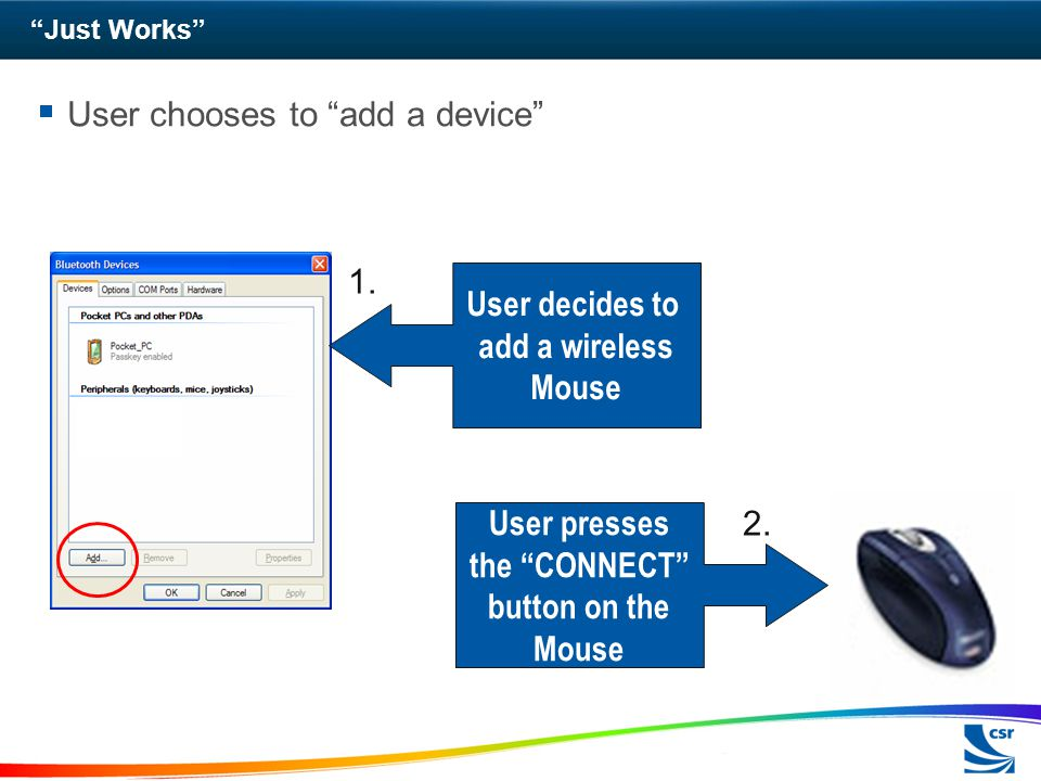 User presses the CONNECT button on the Mouse
