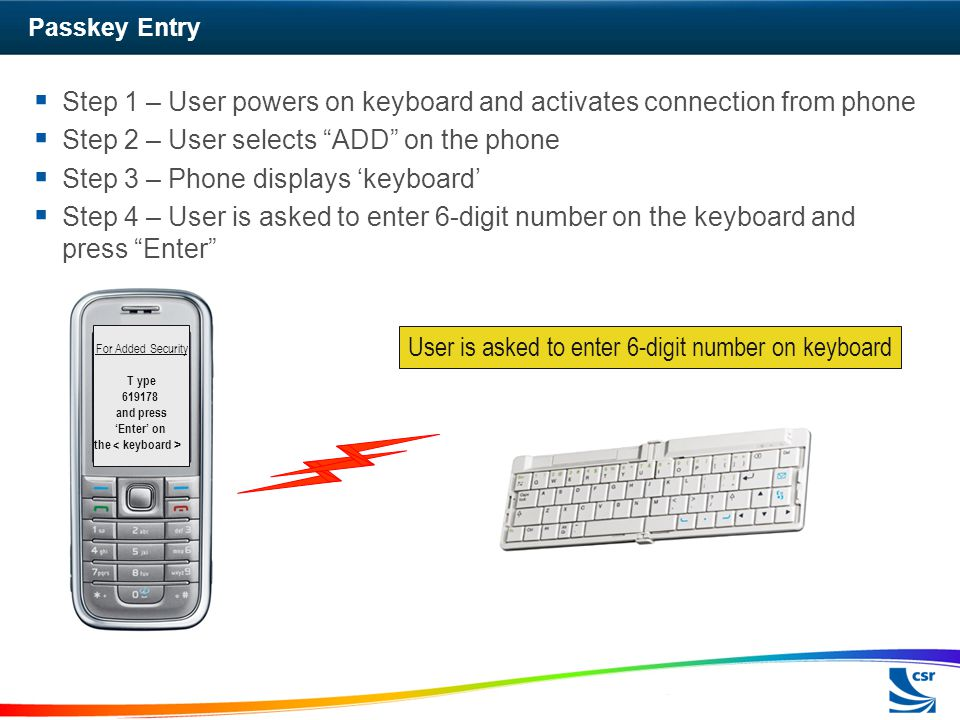 Step 1 – User powers on keyboard and activates connection from phone