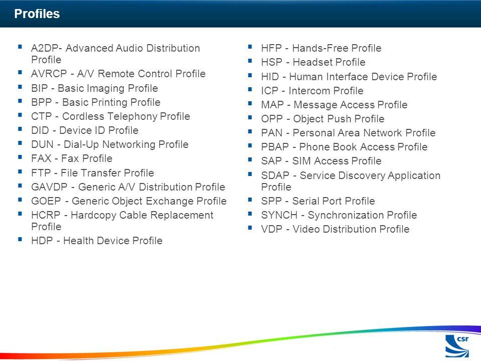 Profiles A2DP- Advanced Audio Distribution Profile