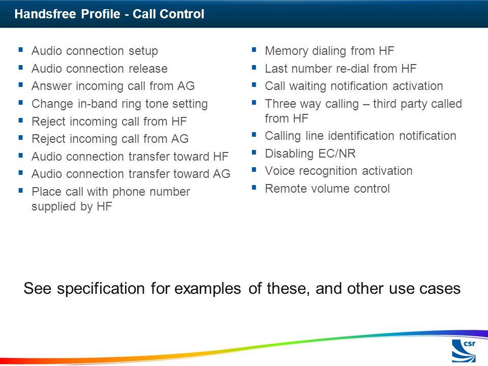 Handsfree Profile - Call Control