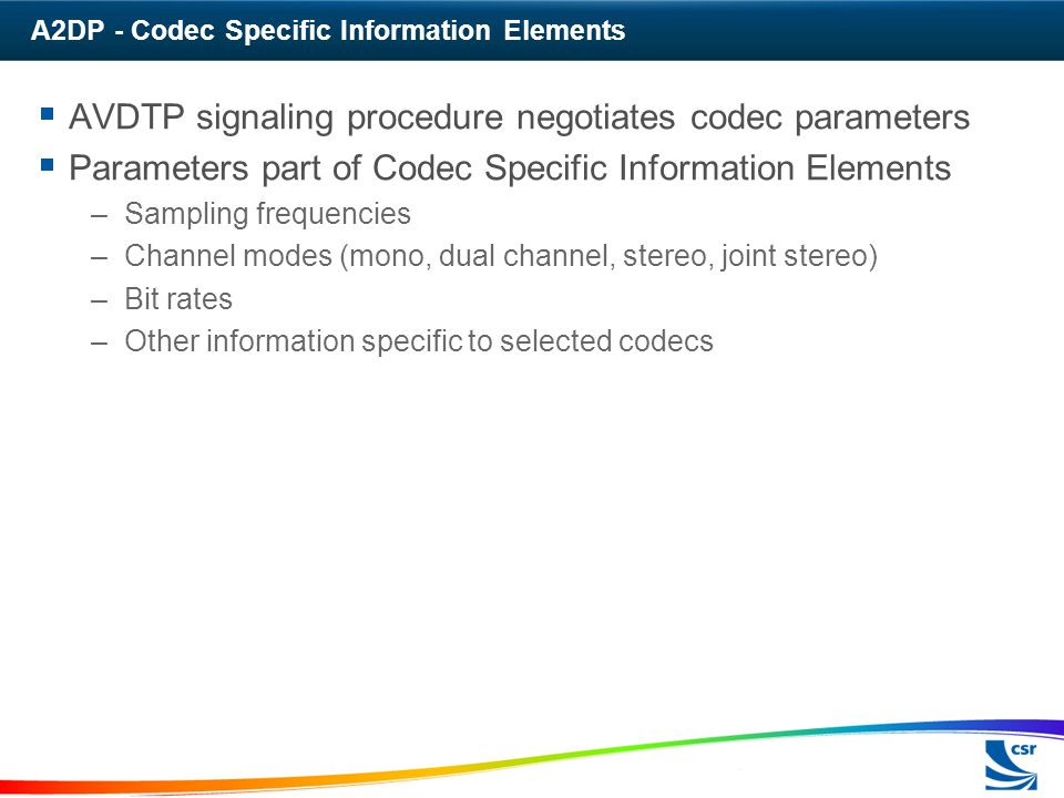 A2DP - Codec Specific Information Elements