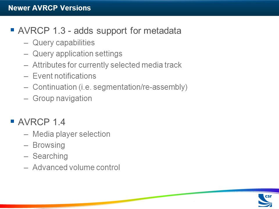 AVRCP 1.3 - adds support for metadata