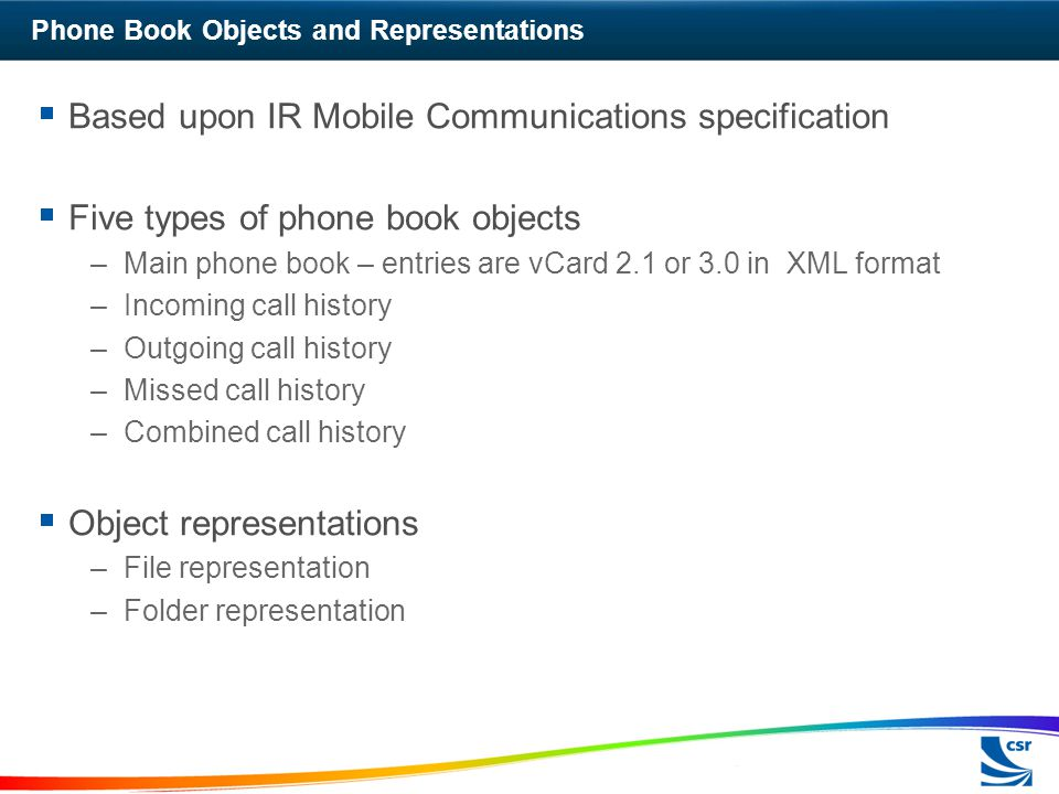 Phone Book Objects and Representations