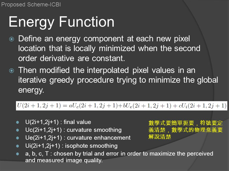 Proposed Scheme-ICBI Energy Function.