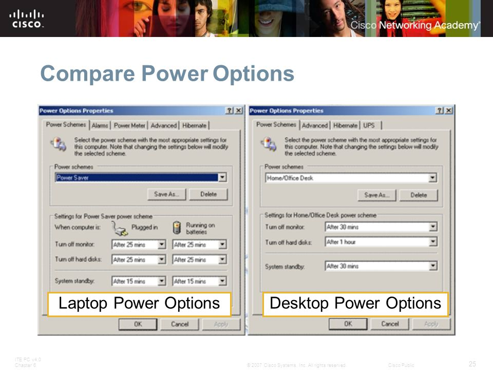 Compare Power Options Laptop Power Options Desktop Power Options