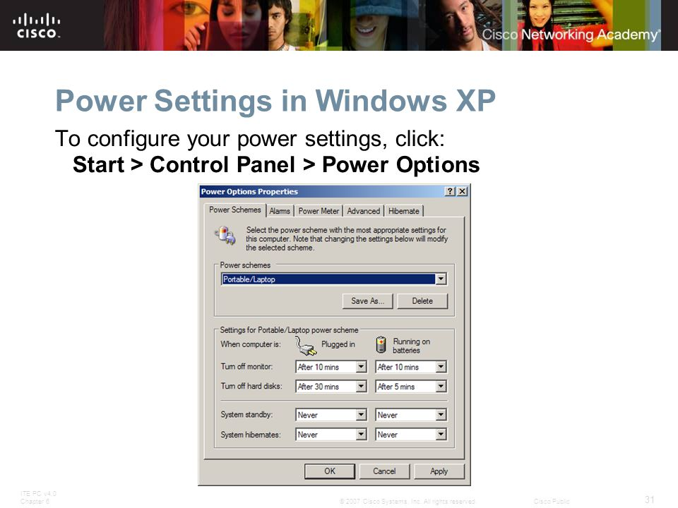 Power Settings in Windows XP