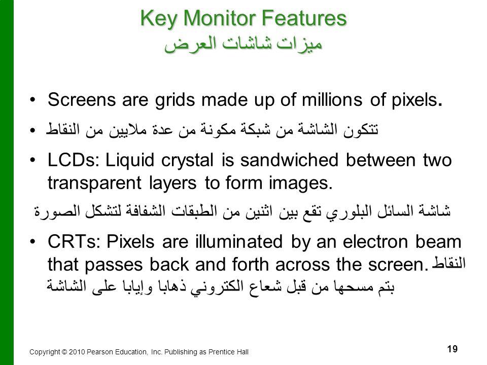 Key Monitor Features ميزات شاشات العرض