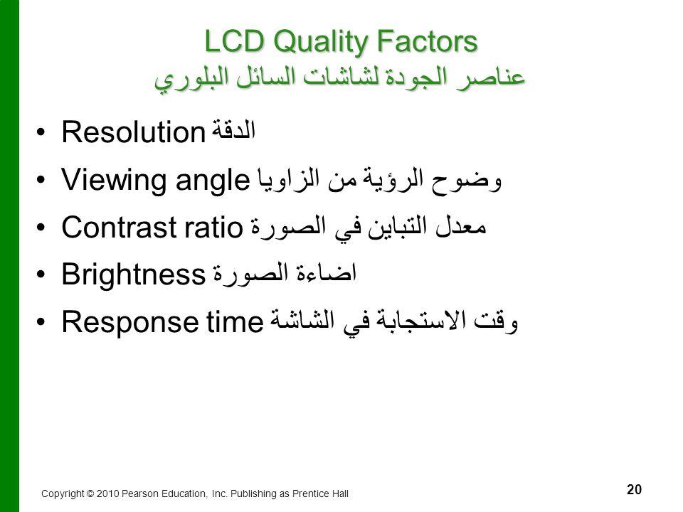 LCD Quality Factors عناصر الجودة لشاشات السائل البلوري