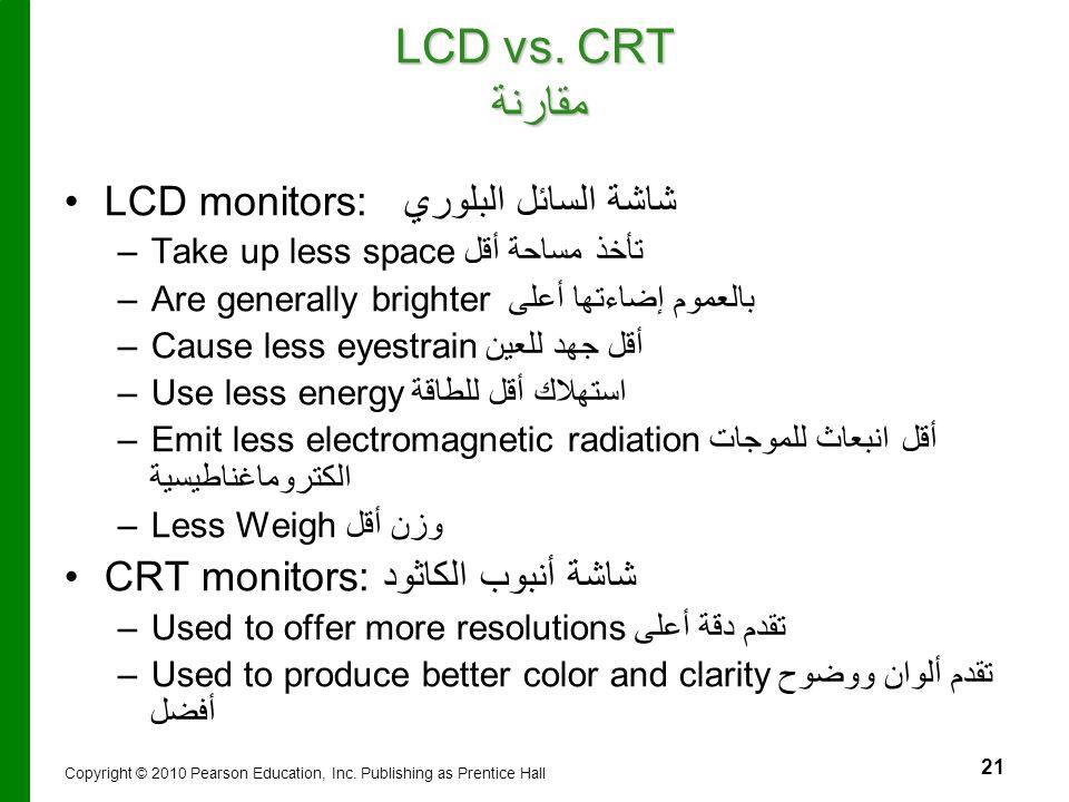 LCD vs. CRT مقارنة LCD monitors: شاشة السائل البلوري