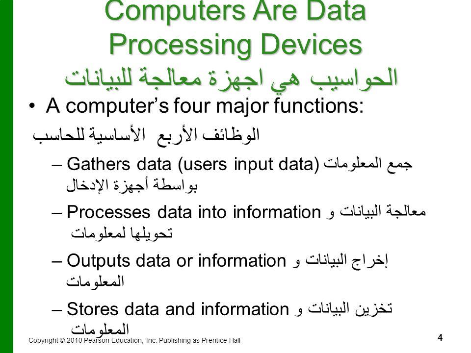 Computers Are Data Processing Devices الحواسيب هي اجهزة معالجة للبيانات