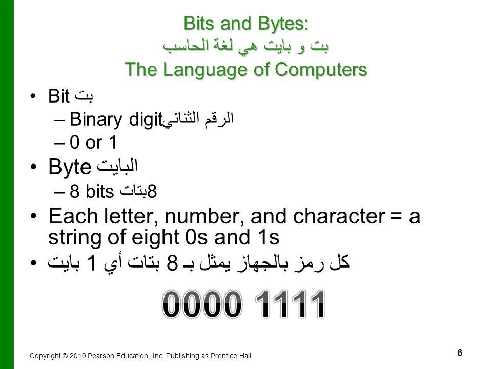 Bits and Bytes: بت و بايت هي لغة الحاسب The Language of Computers