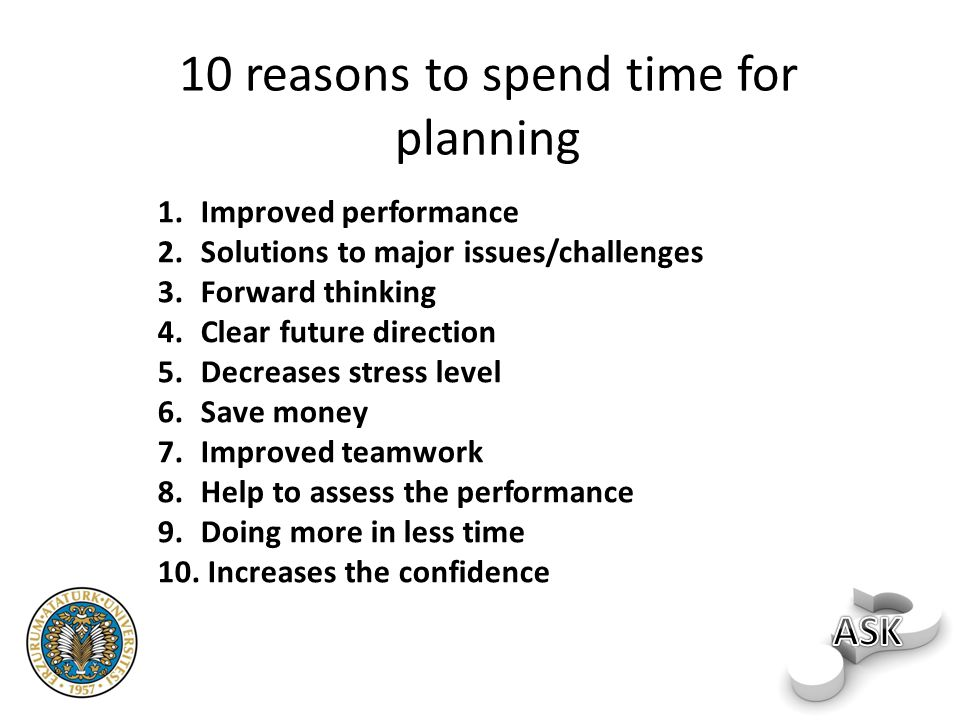 10 reasons to spend time for planning