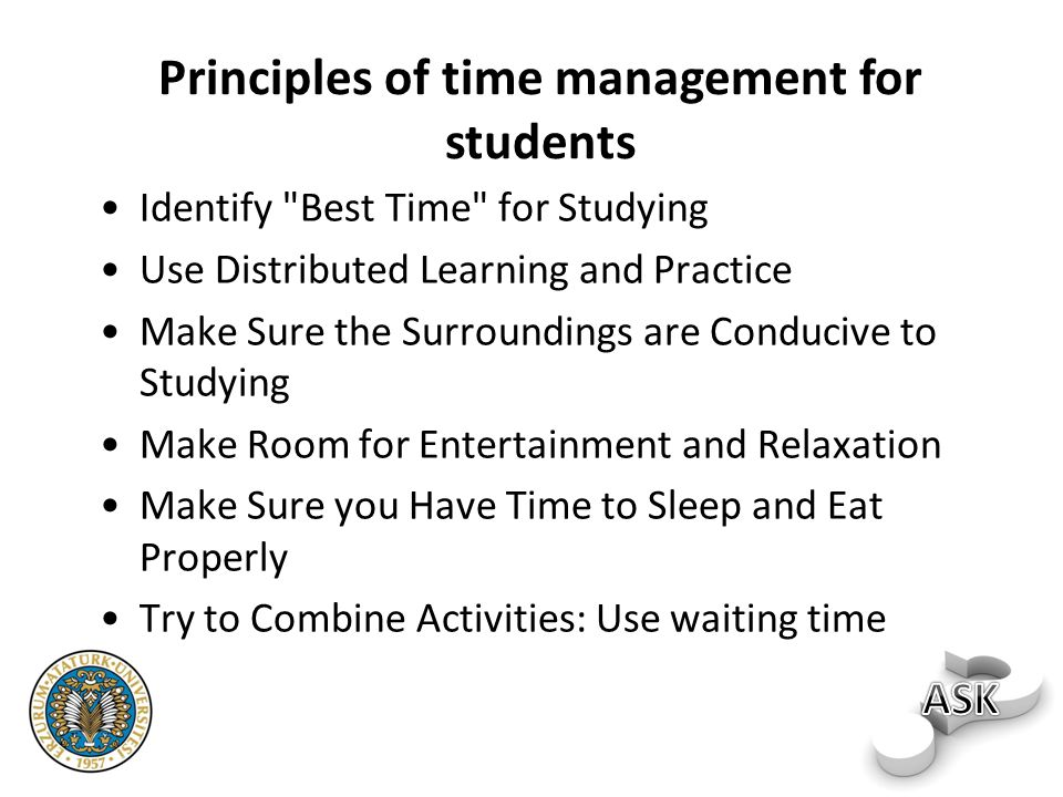 Principles of time management for students