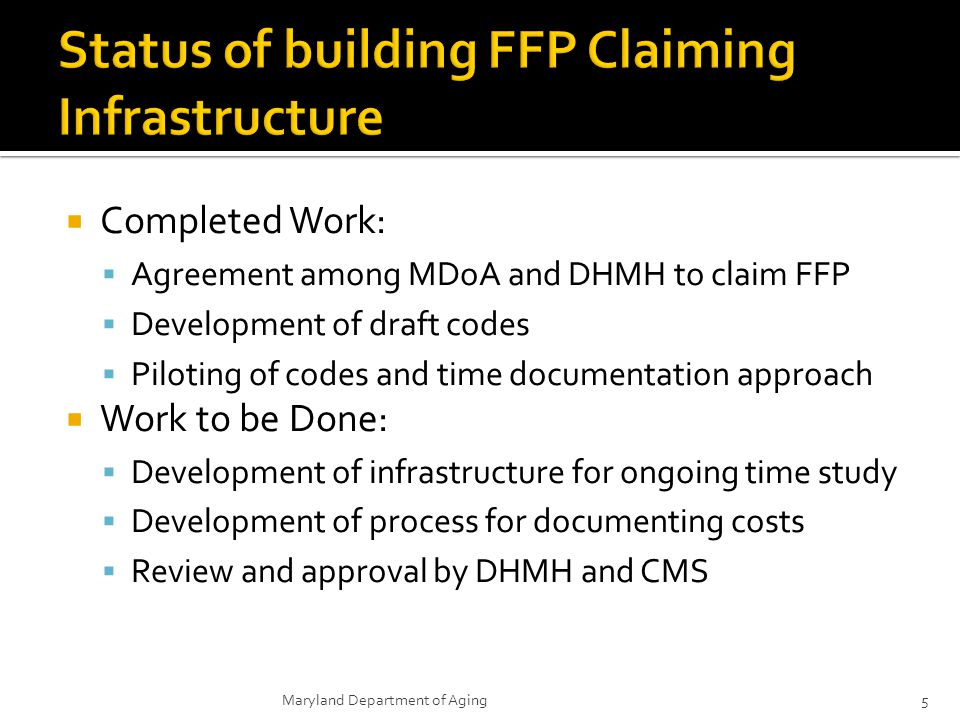 Status of building FFP Claiming Infrastructure