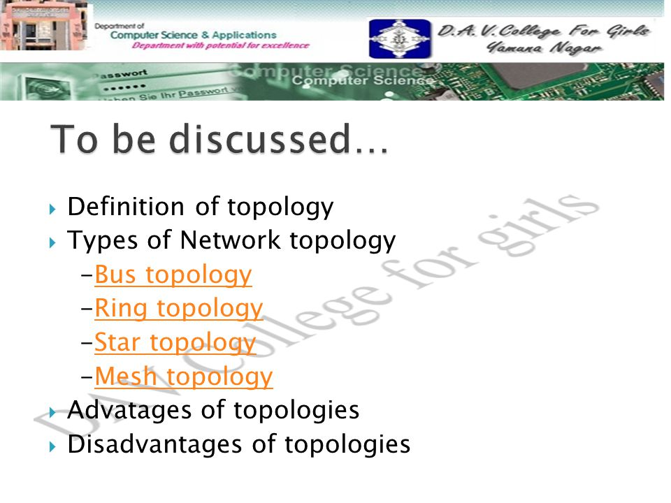 To be discussed… Definition of topology Types of Network topology