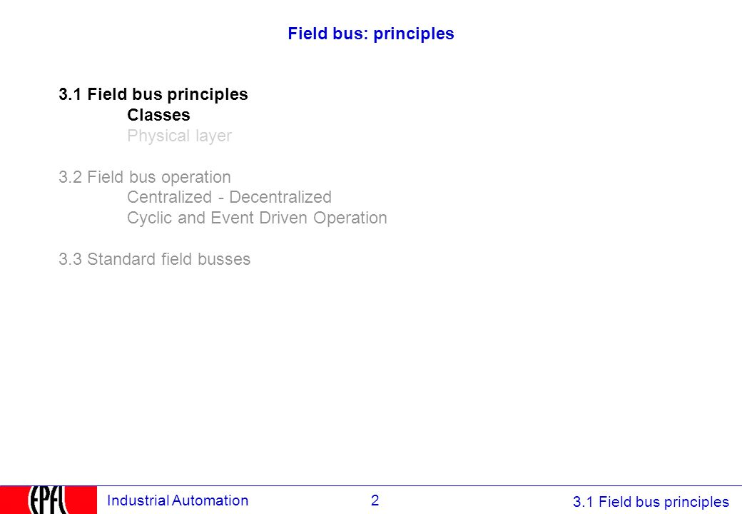 Field bus: principles 3.1 Field bus principles. Classes. Physical layer. 3.2 Field bus operation.