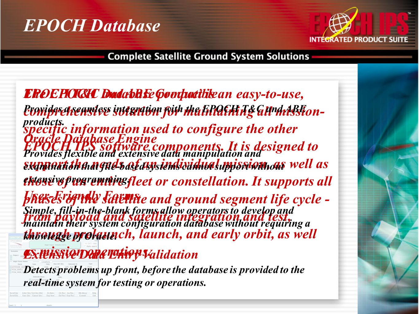 EPOCH Database EPOCH T&C and ABE Compatible.