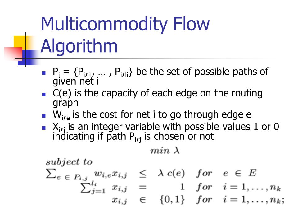 Multicommodity Flow Algorithm
