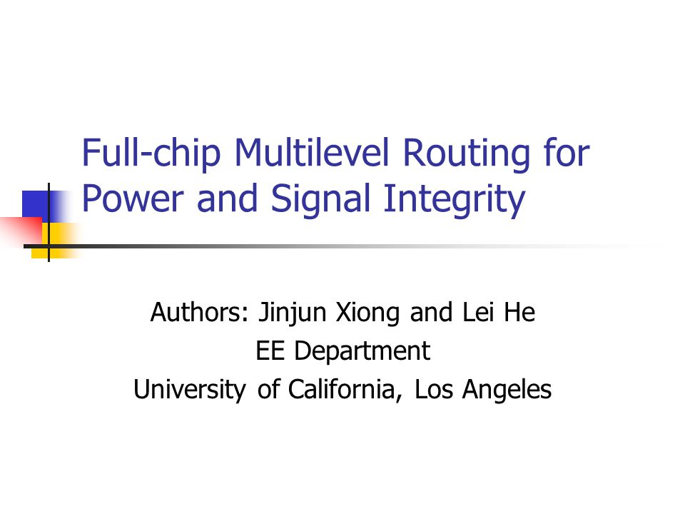 Full-chip Multilevel Routing for Power and Signal Integrity