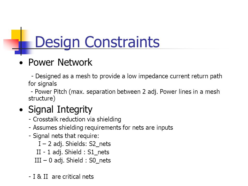 Design Constraints Power Network