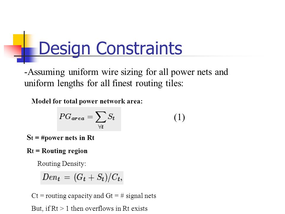 Design Constraints Assuming uniform wire sizing for all power nets and uniform lengths for all finest routing tiles: