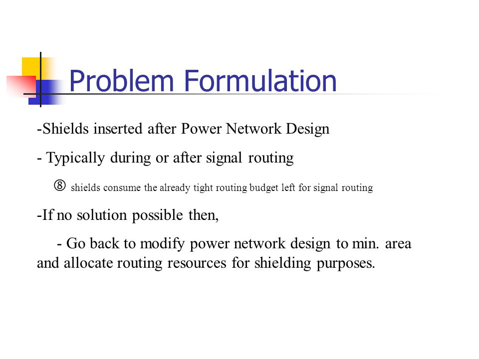 Problem Formulation Shields inserted after Power Network Design