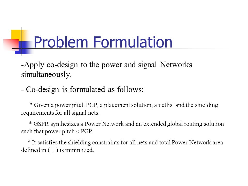 Problem Formulation Apply co-design to the power and signal Networks simultaneously. Co-design is formulated as follows: