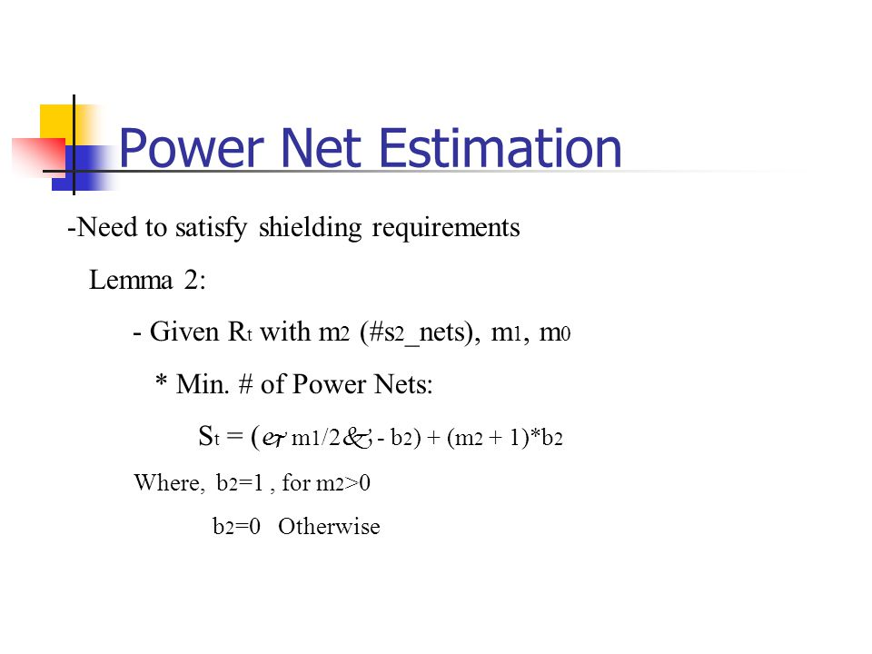 Power Net Estimation Need to satisfy shielding requirements Lemma 2: