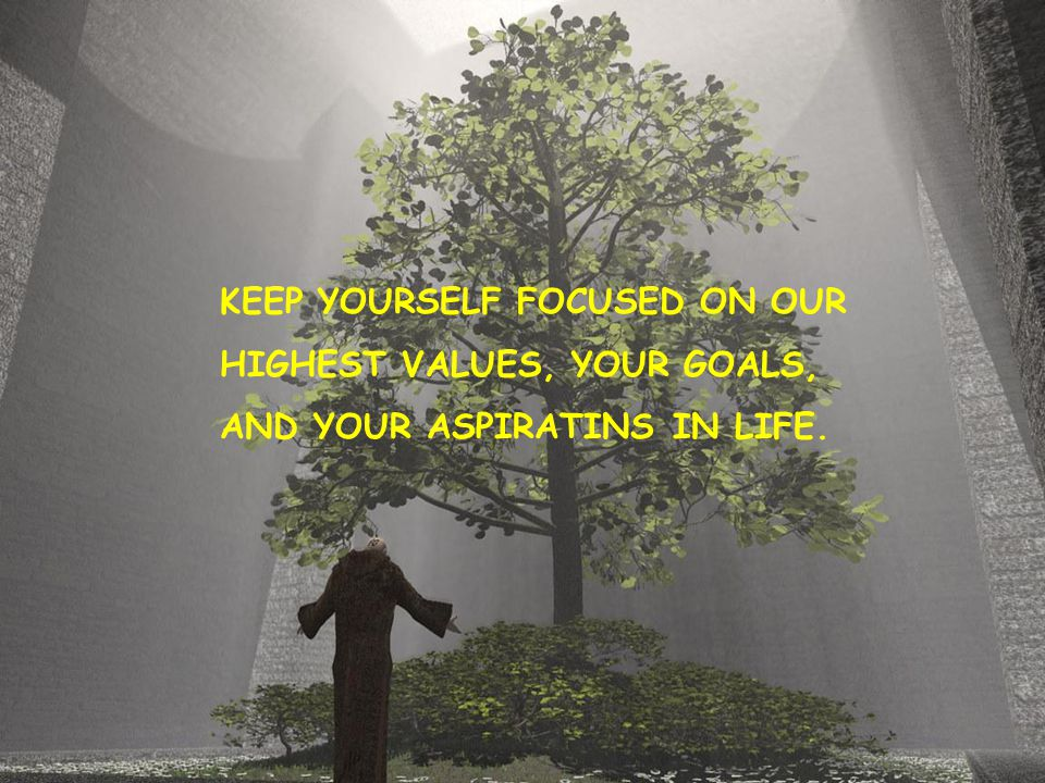 KEEP YOURSELF FOCUSED ON OUR HIGHEST VALUES, YOUR GOALS, AND YOUR ASPIRATINS IN LIFE.