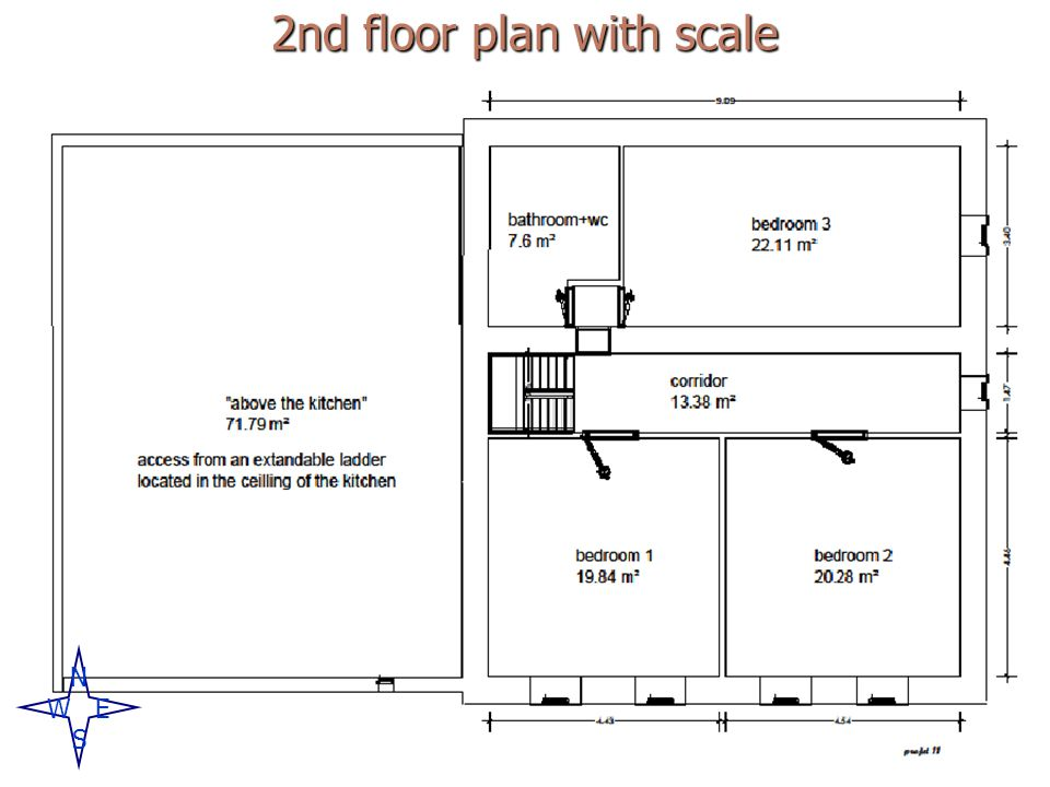 2nd floor plan with scale