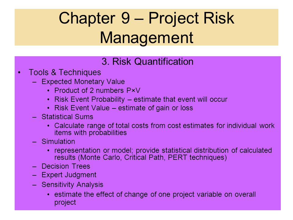 Chapter 9 – Project Risk Management